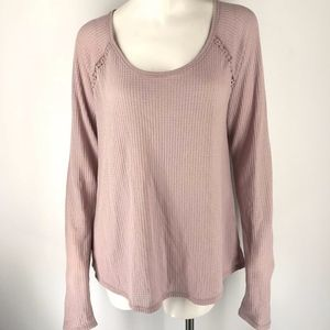Lucky Brand Lace Mixed Thermal Top Blush Pink